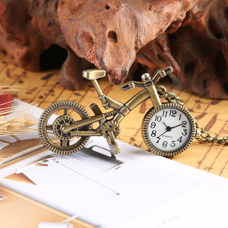 Retro Bike Bicycle Shaped Quartz Pocket Watch Bronze Wheel Necklace Pendant Clock Fashion Gifts For Men Women Kid Bicycle Lovers
