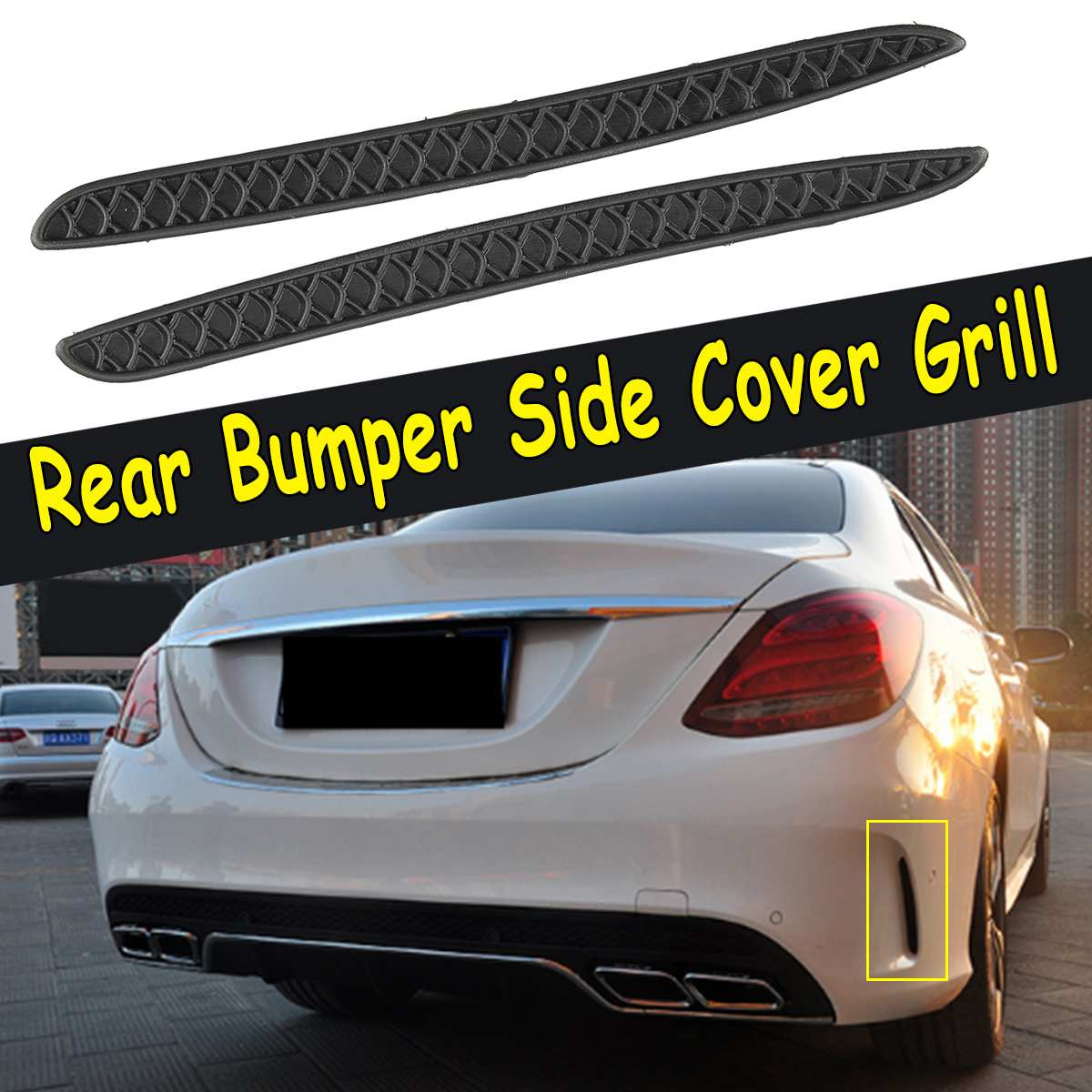 2Pcs Rear Bumper Side Cover Grill Fit For Mercedes-Benz MB C63 W205 2013 2014 2015 2016 2017 For AMG image