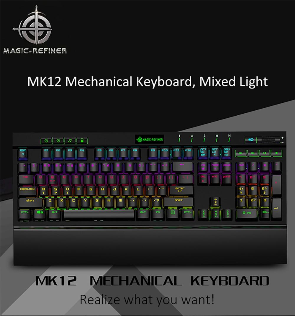Magic Refiner MK12 Mechanical Keyboard Gaming Keyboard USB Wired Keyboards 12 RGB 19 Backlight Mechanical Optical