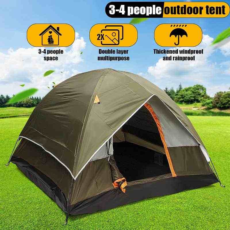 3-4 Person Windbreak Camping Tent Dual Layer Waterproof Anti UV Tourist Tents Outdoor Hiking Beach Travel Inflatable Mattress