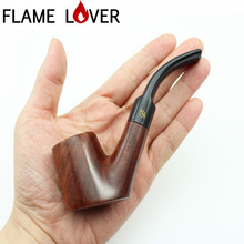 Handmade Nature Solid RoseWood Flat bottom Smoking Pipe Rose Wood Wooden Tobacco Wooden Pipe 10X 9mm Filters+Pouch+Holder DR320