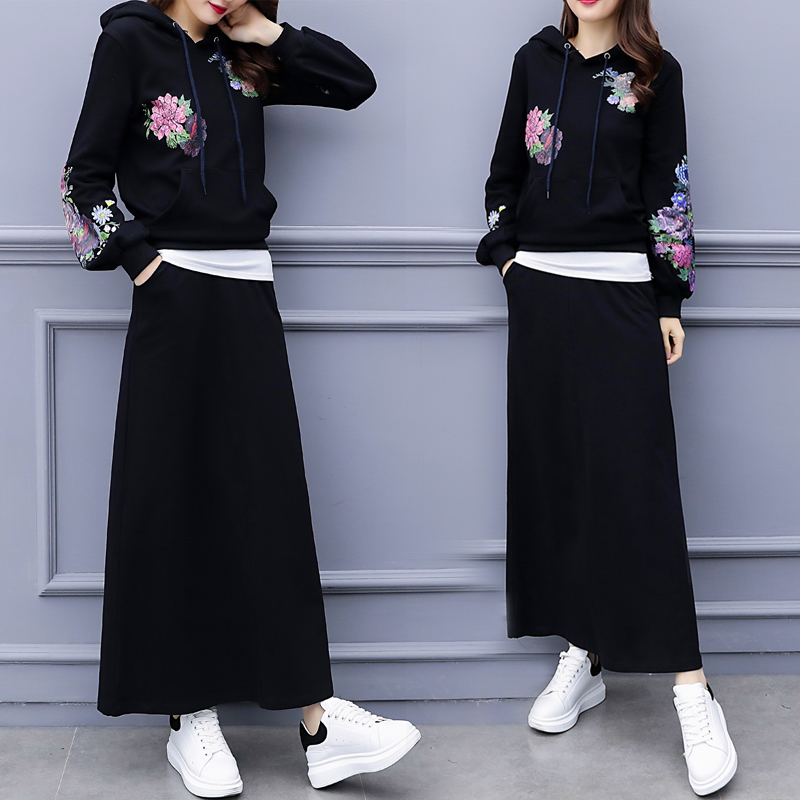 Spring 2019 new printing Korean fashion natural fleece yards long sleeve hoodies skirt two piece casual black suits floral outfi in Hoodies amp Sweatshirts from Women 39 s Clothing