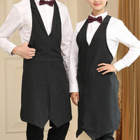 Long Polyester Black Apron Barista Restaurant Hotel Waiter Waitress Catering Uniform Lounge Bistro Bartender Diner Work Wear K27