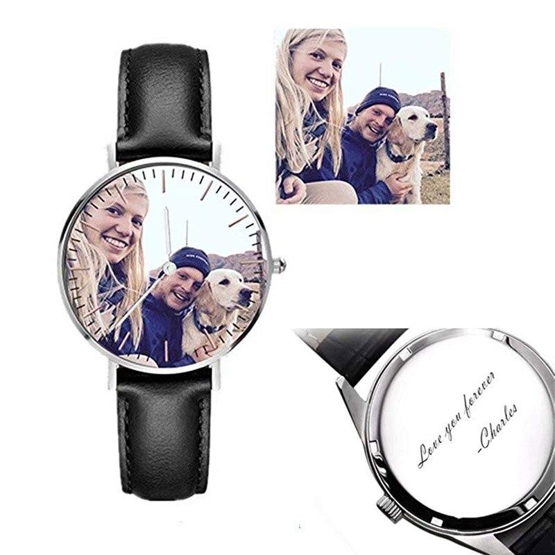 Amxiu personnalisé Photo montre en acier inoxydable montres en cuir montre personnalisée avec Photo et nom montre à Quartz pour les amoureux
