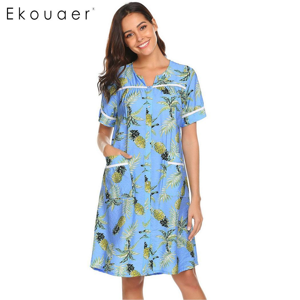 Ekouaer Women Cotton Nightgown Sleepshirts Casual Sleepwear Dress Printed V-Neck Short Sleeve Summer Nightdress Nightshirts XXL