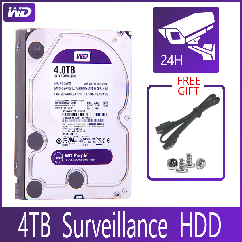 WD PURPLE Surveillance 4TB Hard Drive Disk SATA III 64M 3 5 HDD HD Harddisk For