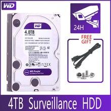 """WD disco duro de vigilancia de 4TB, dispositivo SATA III de 64M, HDD HD de 3,5 """"para sistema de seguridad, grabador de vídeo DVR NVR CCTV, color morado"""