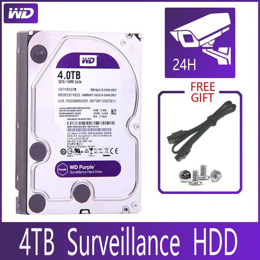 """Wd roxa vigilância 4 tb disco rígido sata iii 64 m 3.5 """"hdd hd disco rígido para sistema de segurança gravador de vídeo dvr nvr cctv"""