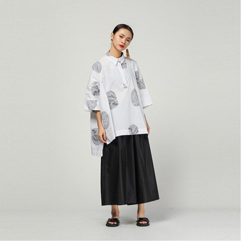f4ebc31893 Blusa Manga Solapa Black Tamaño white Coreano 2019 Mujeres Más Vintage Moda  Nuevo Dobladillo Primavera Camisa Chicever Mujer Corta Top ...
