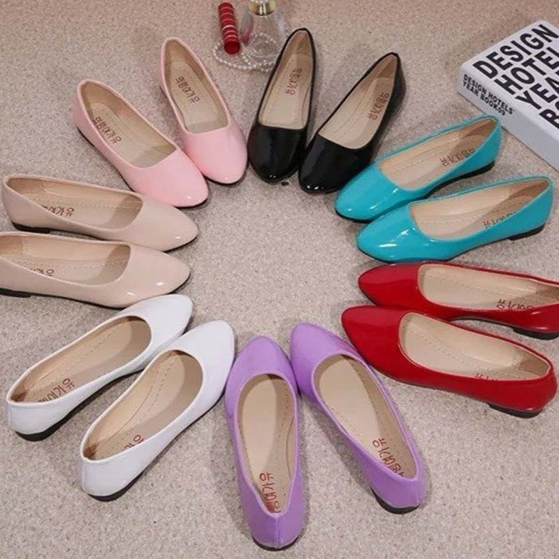 New Womens Cute Casual Solid Shoes Female Comfort Slip On Round Toe PU Leather Flat Shoes Red White Blue Black Summer Beach Shoe(China)