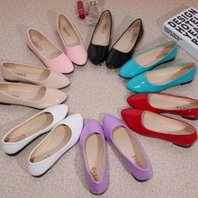 New Womens Cute Casual Solid Shoes Female Comfort Slip On Round Toe PU Leather F