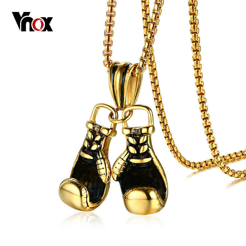 "Vnox Sporty Boxing Gloves Pendant for Men Necklace 3 Colors Stainless Steel 24"" Chain Male Punk Rocky Jewelry"