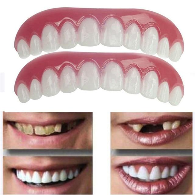 1 PC fila superior de blanco de los dientes de silicona de simulación en la fila dentadura postiza de chapas Flex dentadura perfecta pasta herramientas 34