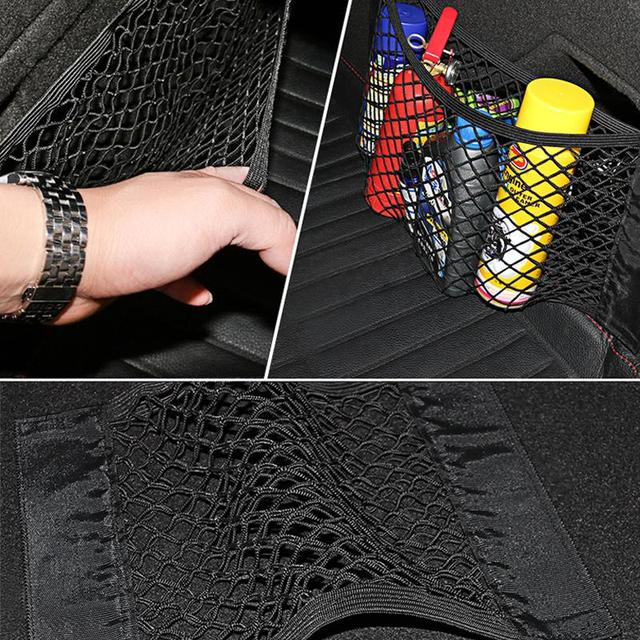 Car Back Rear Trunk Seat Storage Bag Mesh Auto Organizer Double-deck Elastic String Net Magic Sticker Pocket Bag Car Organizers 4