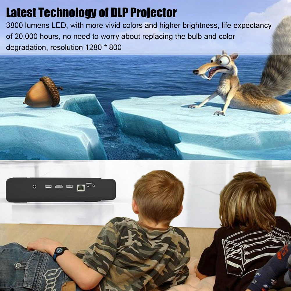 Portable 3D Mini Home Projector HD 1080P DLP Smart Projector Home Media Player HDMI USB Home Theater for Android 4.4 Hot Sale