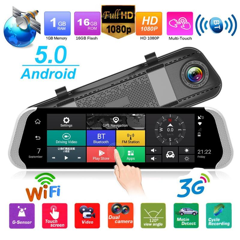 9.35 inch Car DVR Camera 3G Android Rearview Mirror GPS FHD 1080P GPS WiFi Dual Lens Dash Cam Video Recorder