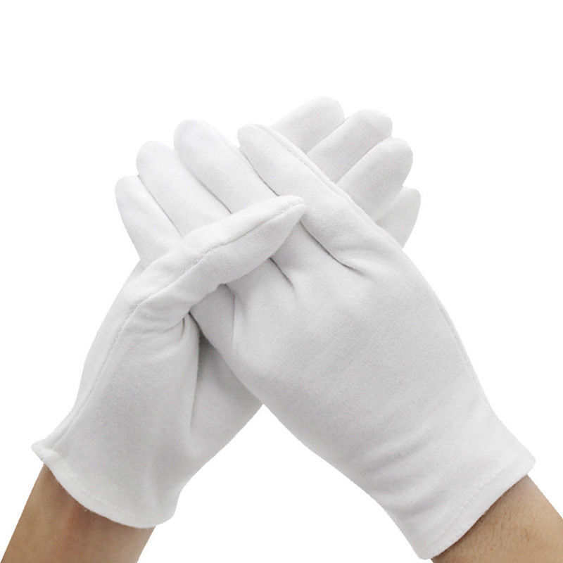 6 Pairs Cotton Jewelry Gloves White Coin Silver Inspection Glove Medical Labor Protective Work Safety Durable Hands Protector