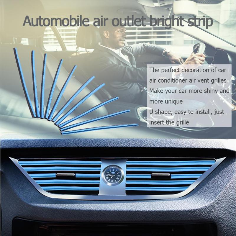 10pcs/set Universal U Style DIY Car Interior Air Conditioner Outlet Vent Strips