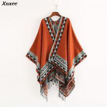 Xnxee New European and American style fashion geometric color imitation comfortable temperament warm poncho shawl scarf