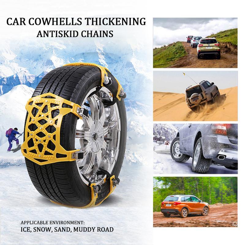 Nouveau 6 pièces voiture anti-dérapant chaîne universelle Portable épaississement élargi neige antidérapant chaîne pneus chaînes neige Chai avec gants clé