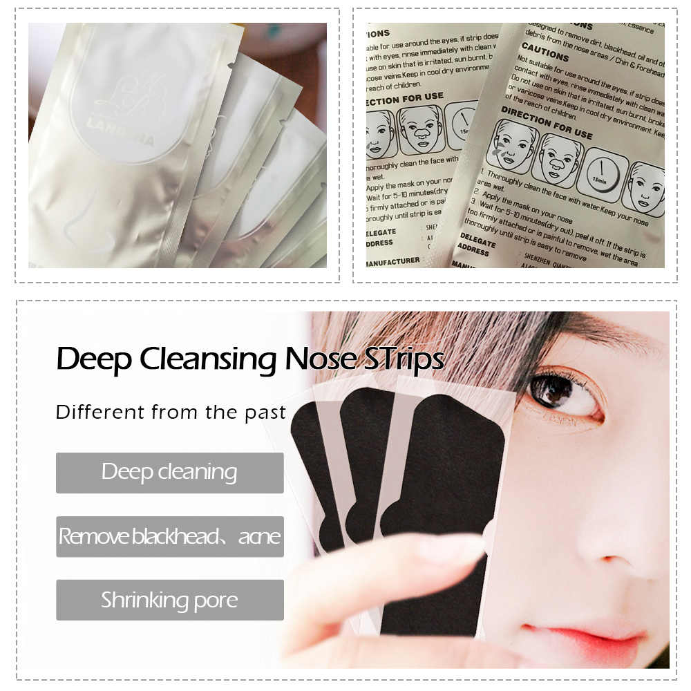 LANBENA 1Pc czarny maska zaskórnika Remover odkleić błoto twarzy maska na węgiel nos trądzik leczenie nosa czarna maska