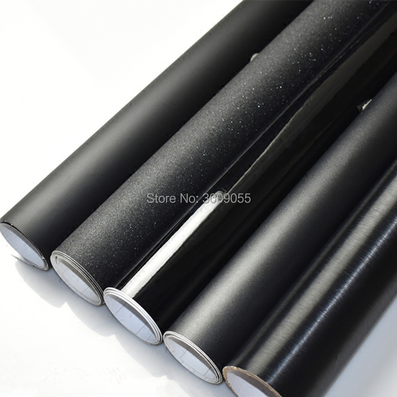 Noir Brillant Vinyle Film Brillant Noir Wrap Bubble Livraison Voiture Emballage Taille: 1.52*30 m/Rouleau