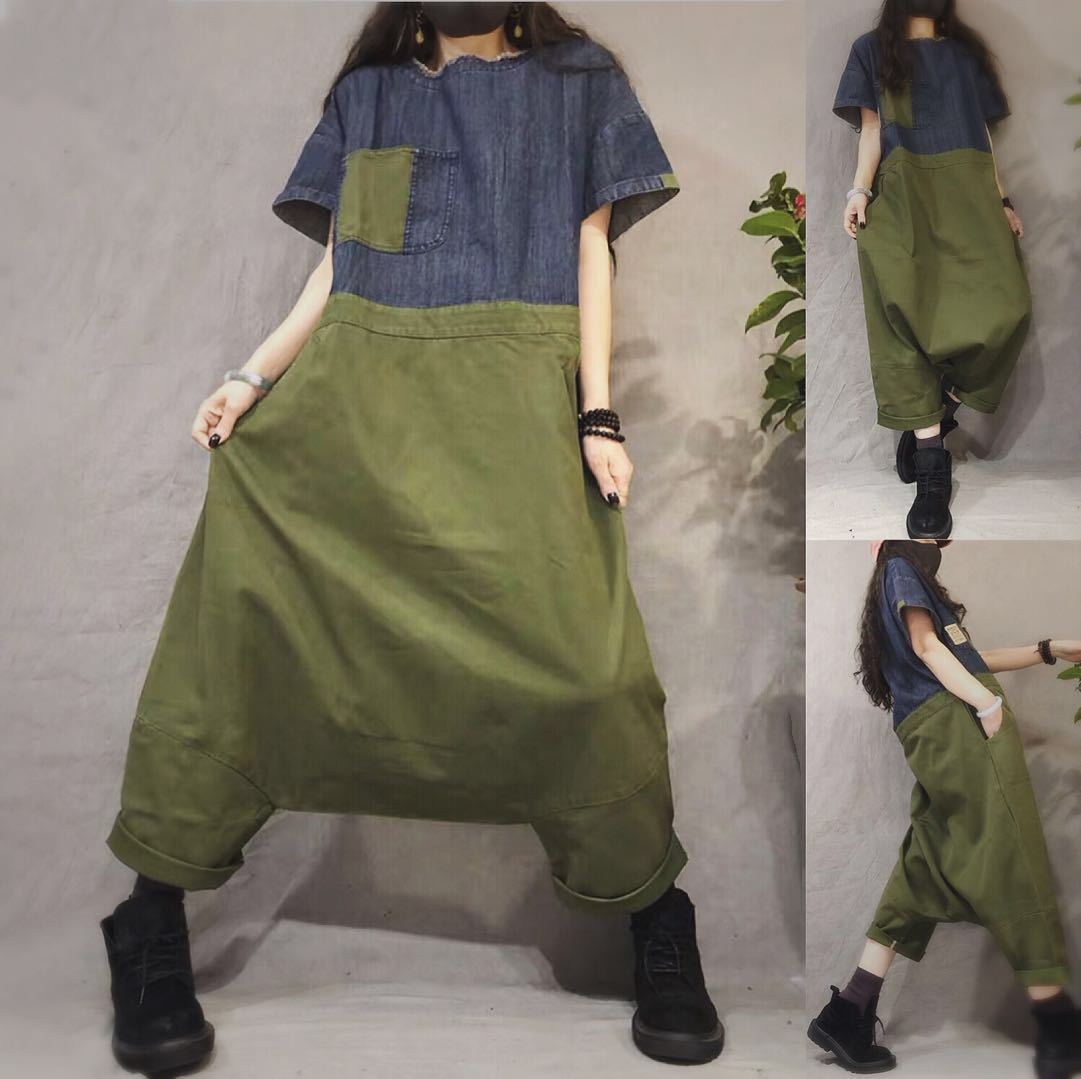 Women Baggy Patchwork Jumpsuits Short Sleeve denim Playsuits O Neck hanging crotch Rompers Cowboy One piece