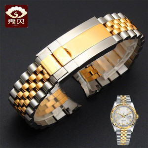 Image 3 - New High quality Stainless Steel Watchband Gold Silver Bracelet with Oyster Buckle 20mm for RX Perpetual Day Date Datejust Watch