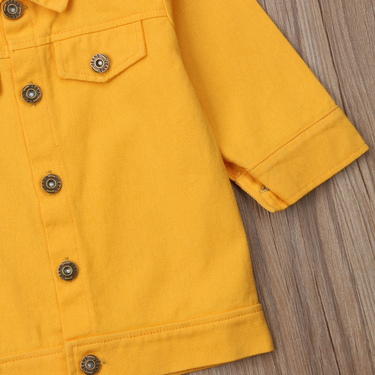 Kids Child Baby Boy Girl Clothing Yellow Denim Jacket Coat Snowsuit Top Outerwear
