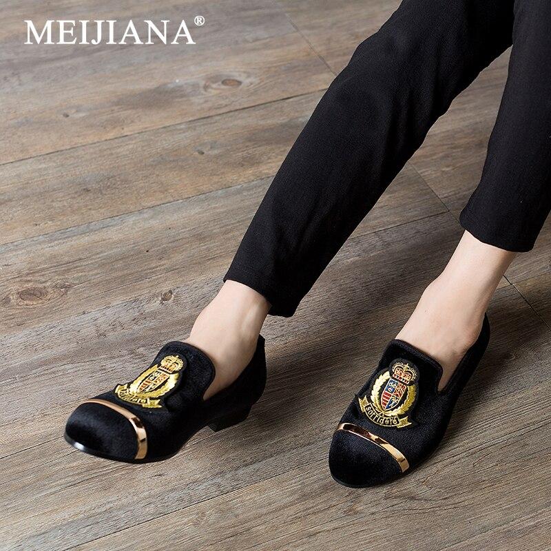 Mode De Broderie bleu Hommes Automne Et Marque Chaussures Confortable Respirant Noir Meijiana Printemps 2019new rouge Mocassins Mariage iPZukX