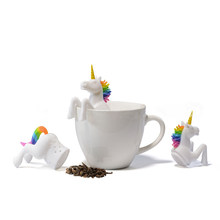 Tea Bag Food Grade Leaf Herbal Spice Filter 1 Pcs Unicorn Shape Tea Infuser Strainers Creative Filter Loose Silicone чай(China)
