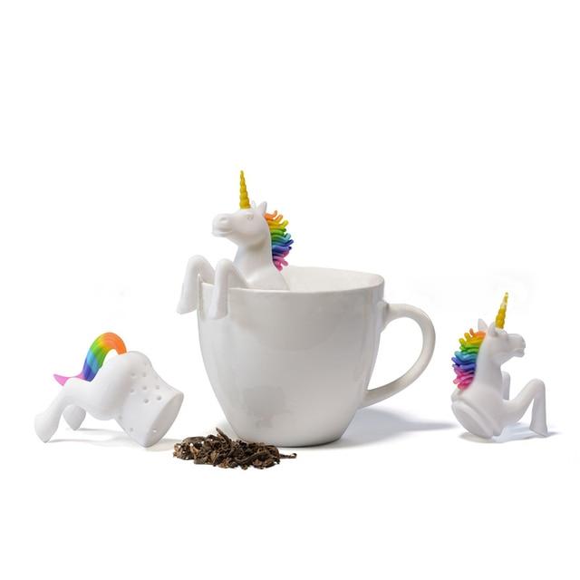 Trà Túi Thực Phẩm Lớp Lá Thảo Dược Gia Vị Lọc 1 Pcs Unicorn Shape Tea Infuser Lọc Bộ Lọc Sáng Tạo Lỏng Silicone чай
