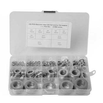 325pcs/box Flat Washers 10 Sizes M2 M3 M4 M5 M6 M8 M10 M12 M14 M16 Stainless Steel Convertible Accessoires Flat Washers