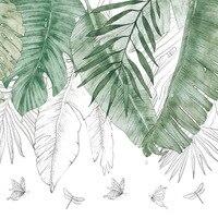 Листья тропических растений наклейки на стену листья домашний Декор Гостиная Спальня задний план nordic дети декоративный настенный Рисунок ...
