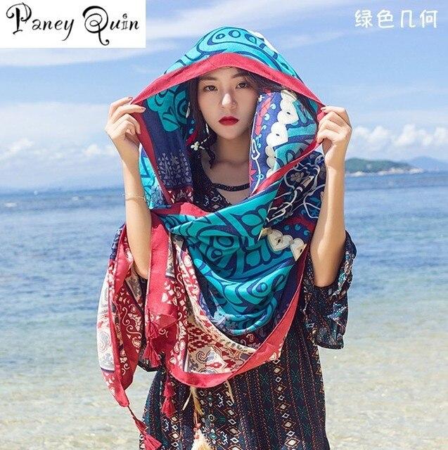 Verano playa viaje bufanda chal mujeres borla impresión gran flor chal bufanda de lujo playa vacaciones protector solar
