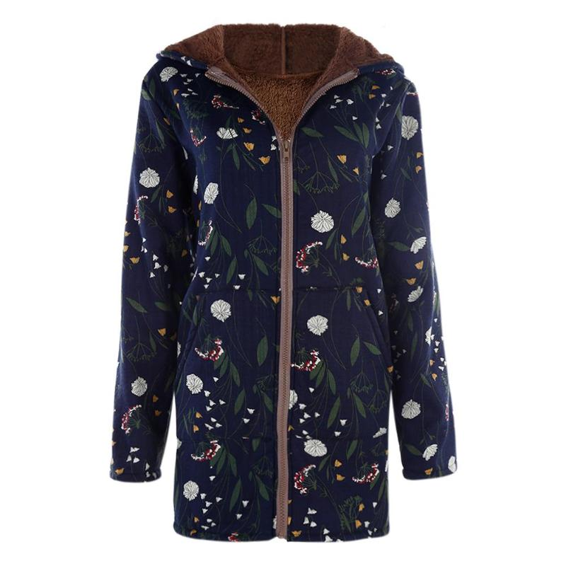 Winter Jackets Cotton Women Warm Floral Print Pockets Vintage Hooded Coats Long Sleeve Cotton Overcoat Fashion Female Streetwear