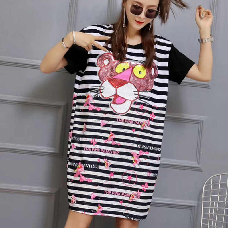 QING MO Sequin Animal Dress Women Pink Panther T Shirt Dress White Striped Dress Patchwork Short Sleeve T Shirt  ZLDM100
