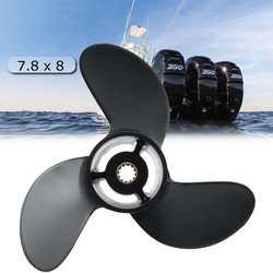 Fuera de borda de la hélice 3R1W64516-0 7,8x8 para Tohatsu Nissan-Mercurio 4-6HP negro 3 aspas 12 Spline Diente de aleación de aluminio R de rotación