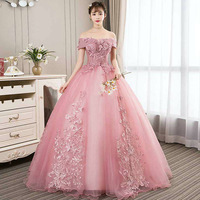 Studio Pink Quinceanera Dresses Ball Gown Off The Shoulder Lace Appliques Tulle Floor Length Sweet 16 Dress Debutante Gowns