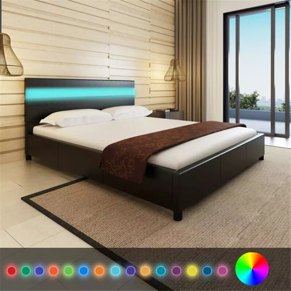 Leather Bed Frame Black Artificial Leather Bed With Led Headboard Bed Frame 200 X 160 Cm Bedstead Platform Bed For Bedroom Home Hotel