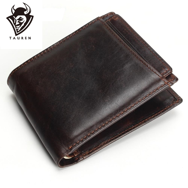 Hot 2019 Vintage Casual Men Wallets Crazy Horse Genuine Leather Cowhide Men Short Bifold Multi-Function Card Holder Wallet Purse