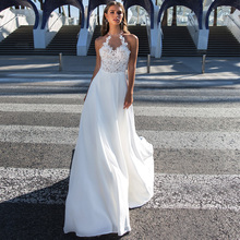 Halter Sleeveless Robe De Mariage Wedding Dress 2019  Beading Lace Applique Bridal Gowns Mariee with Illusion Back
