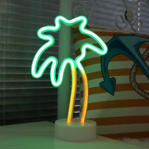 Image 2 - Coconut Palm Tree LED Neon Signs Light With Holder Base For Party Supplies Table Decorations Home Decor Children Gift Night Lamp