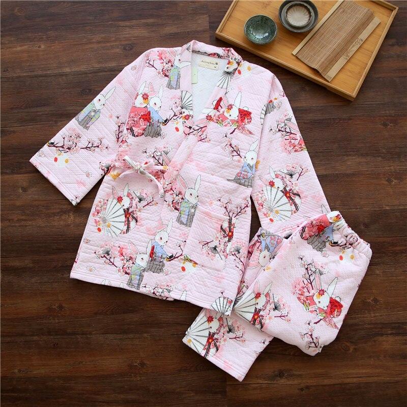 Japanese Yukata Winter Warm Bathrobe Kimono Suits Robes Pajamas Tops Pants Sets Thickening Cotton Pyjamas Sleepwear Home Leisure
