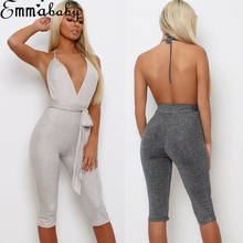 New Women Fashion Casual Solid Jumpsuit Bodycon Party Jumpsuit Trousers Backless Clubwear(China)