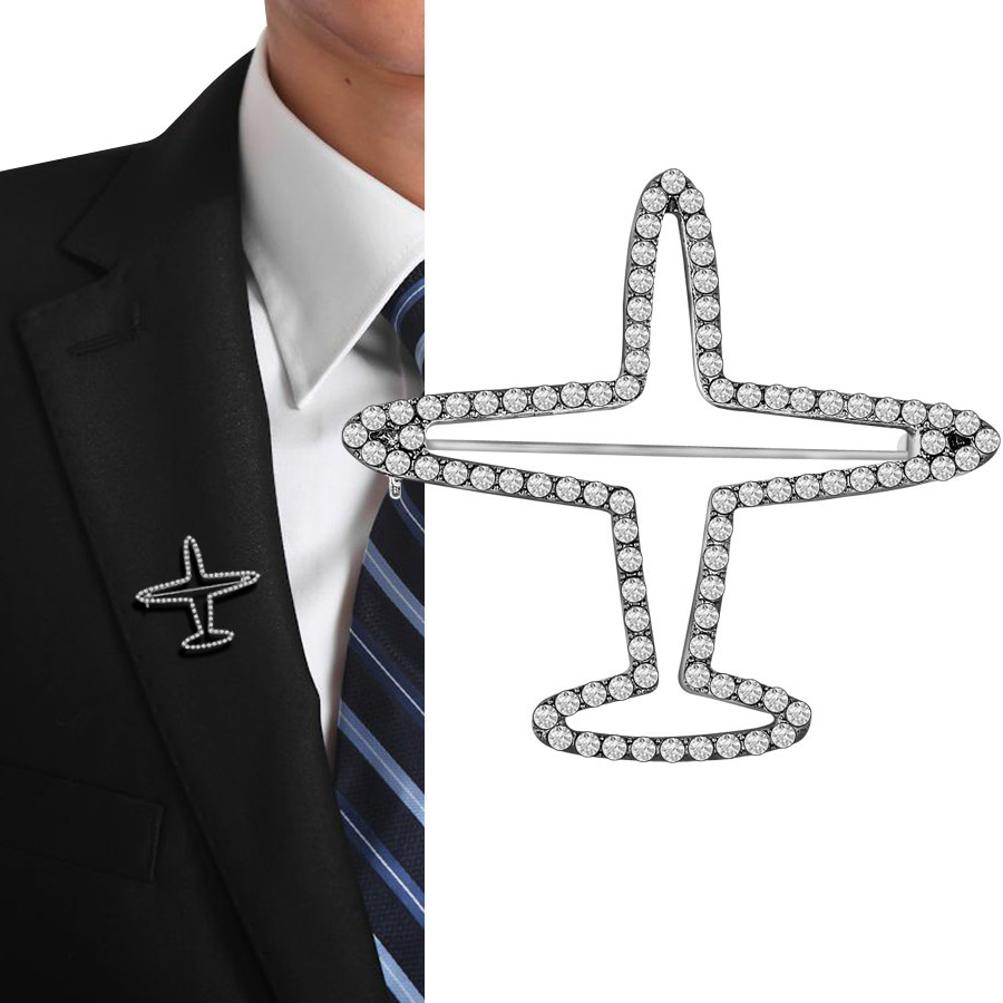 Fashion Rhinestone Aircraft Brooches For Women Men Badge Accessories Silver Color Airplane Crystal Brooch Pins Jewelry Broche image