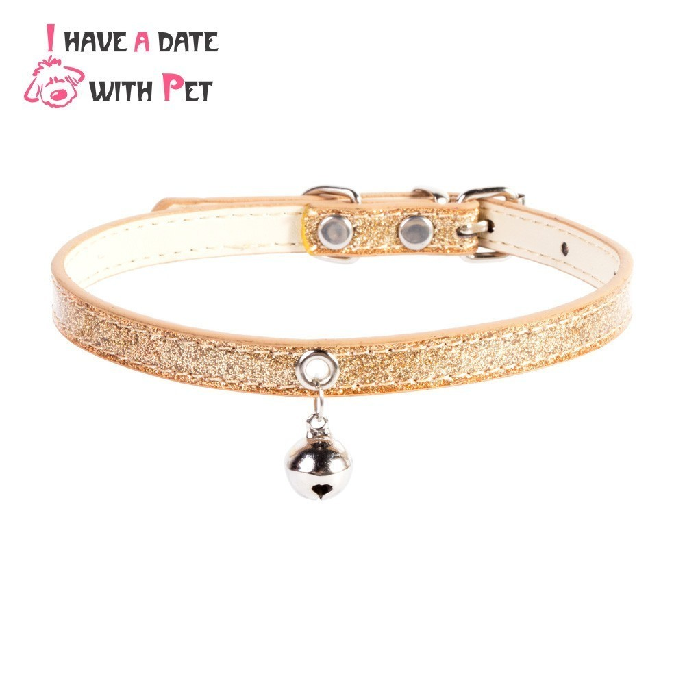 Dog Accessories With Small Silver Gold Bell Bling Dog Collar PU Leather Personalized Pet Necklace Strap for Puppy Cat Product