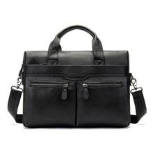 Купить с кэшбэком High Quality Genuine Leather Bag Men Bag Cowhide Crossbody Bag Shoulder Men's Travel Bags Fashion Tote Laptop Briefcases Handbag