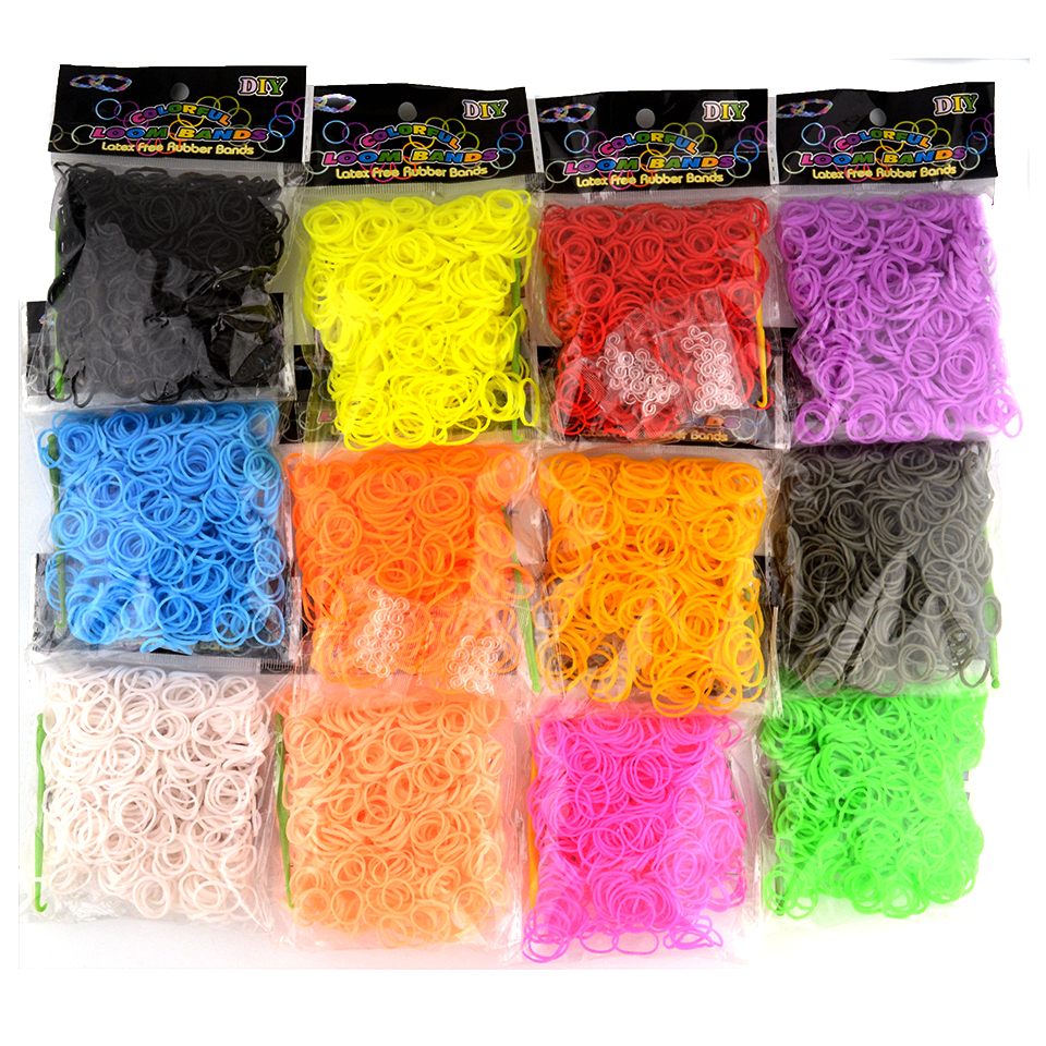 600PCS Rainbow Colorful Loom Bracelet Rubber Bands Kits Craft Toys With 24 Clips 1 Hook DIY For Loom Bracelet For Children