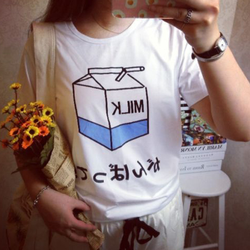 Harajuku Milk Carton Print T Shirt Women Short Sleeve O Neck Loose Tshirt 2019 Summer Women Tee Shirt Tops Camisetas Mujer